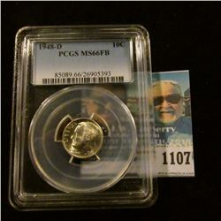 1107 _ 1948 D Silver Roosevelt Dime. PCGS slabbed MS66FB.  NGC Price Guide $40