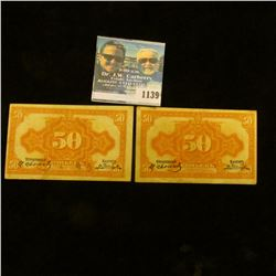 1139 _ Pair of S1244 Russian 50 Kopek Banknotes, 'Doc' had these valued at $15 each. Both VF.