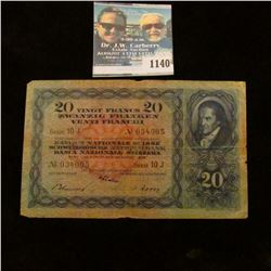 1140 _ 1936 National Swiss Bank in Zurich, VG. 'Doc' valued this note at $20