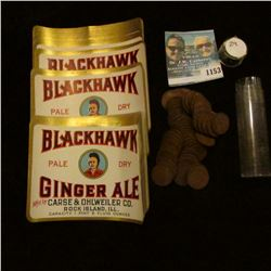 "1153 _ Large Group of ""Blackhawk Pale Dry Ginger Ale…RockIsland, Ill."" Bottle labels."