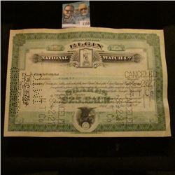 "1155 _ Stock Certificate for One Share ""Elgin National Watch Co."", central vignettes of Grim Reaper"