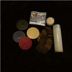 1156 _ Set of four Clay Poker Chips depicting a Griffin; & a solid date roll of 1925 P Lincoln Cents