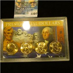 1164 _ Set of P & D George Washington & John Adams Presidential Dollars in a special case. (4-pieces