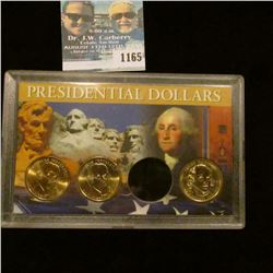1165 _ Pair of Thomas Jefferson & a James Madison Presidential Dollars in a special case, all BU.