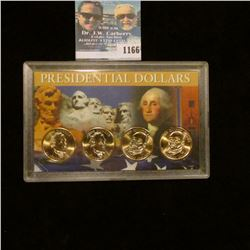 1166 _ Pair of James Monroe & pair of John Quincy Adams Presidential Dollars in a special case of is