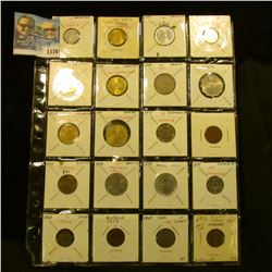1176 _ Plastic stock page containing (20) various attributed Foreign Coins.