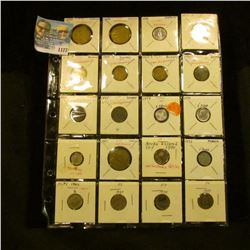 1177 _ Plastic stock page containing (20) various attributed Foreign Coins. Includes several Nazi Ge
