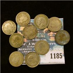 1185 _ Set of Great Britain Silver Three Pence Coins: 1932, 33, 34, 35, 36, 37, 38, 39, 40 & 41. (10