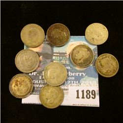 1189 _ Set of Great Britain Silver Three Pence Coins: 1914, 19, 36, 38, 40 41, 42, 43, & 44. (10 pcs