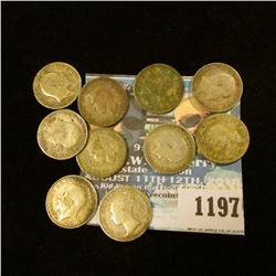 1197 _ Set of Great Britain Silver Three Pence Coins: 1902, 05, 08, 10, 11, 38, 41, 42, 43, & 44. (1
