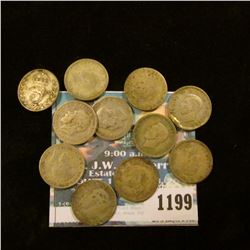 1199 _ Set of Great Britain Silver Three Pence Coins: 1914, 18,20, 21, 22, 25, 26, 38, 41, 42, 43, &