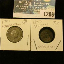 1206 _ 1951 25 Centimes & 1897 Silver 10 Centimes from Netherlands.