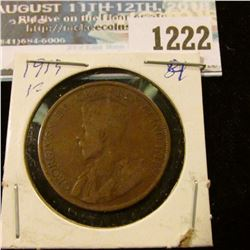 1222 _ 1913 Canada Large Cent.