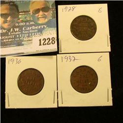 1228 _ 1928, 1930 & 1932 Canada Small Cents.