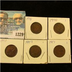 1229 _ 1938, 40, 51, 53 & 57 Canada Small Cents.