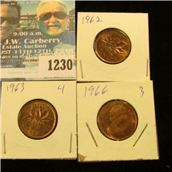 1230 _ 1962, 1963 & 1966 Canada Small Cents. Uncirculated.