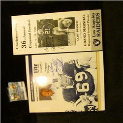 1256 _ (2) Autographed Pieces, Cliff Branch of the Las Angeles Raiders and Conrad Dobler of the Card