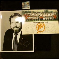 1261 _ Autographed Photo of Merle Olsen and 1983 Photograph of the Miami Dolphins.