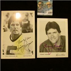 1265 _ (2) Autographed Photo's of Tommy Cramer of the Minesota Vikings and Vince Ferragamo Quarterba