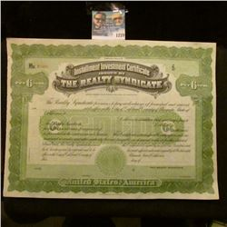 "1270 _ Instalment Investment Certificate Issued By ""The Realty Syndicate"" Unissued Stock Certificate"