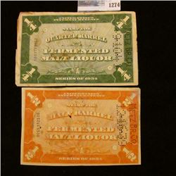 1274 _ Series 1934 (2) Revenue Stamps, 1/4th & 1/2 Barrel of Fermented Malt Liquer.