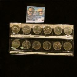 1298 _ 1876-1992 Set of 12 Canada Quarters of the Different Territories. BU.