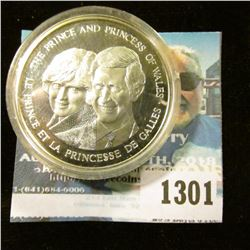 1301 _ 1983 Canada Charles & Diana Prince and Princess of Wales Silver Proof Medal.