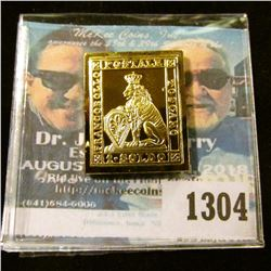 1304 _ 1851 Tuscany 1 Soldo, Crowned Lion, 24K Plated on Sterling Stamp Replica.