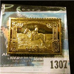 1307 _ Canada 10c Canadian Royal Mounty, 24K Gold Over Sterling Stamp Replica.