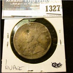1327 _ 1913 India, 917 Fine Silver Rupee, With Dents.