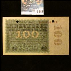 1345 _ 1923 Germany, 100 Marks Note.