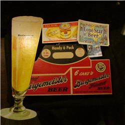 1350 _ (10) Lone Star Beer Lables, Blue Ribbon, Malt Extract Ink Blodder, Cardboard Cutout Budweiser