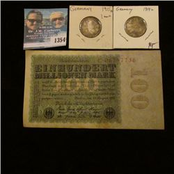 1354 _ 1923 German 100 Millionen Note and 1914A, 1915A Silver 1 marks in Nice Grades.