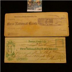 1362 _ 1870 Downers & Bemis Brewing Co., and 1864 Downer, Bemis & Co. Checks.