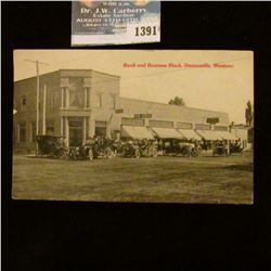 1391 _ 1914 scarce Post Card bank and Business Block of Stevensville, Montans.