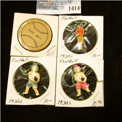 1414 _ (3) 1930's Football Figures and Base Ball Poker Chip.