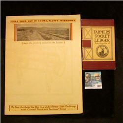 1417 _ 1930's John Deere Side Delivery Rake 2 Page Advertising and 1910 Farmers Pocket Ledger Compli