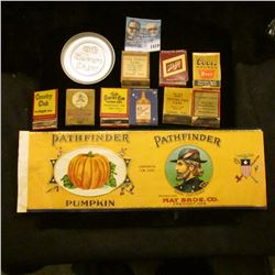 1419 _ Pathfinder Brand Pumpkin, Caned Pumpkin Lable with Picture of John Freemont., (9) Match Books