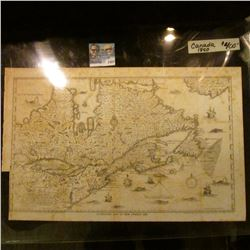 """1422 _ 11 7/8' X 18 7/8"""" Champlain's Map of New France 1632,  1850 Copy of a Map of Canada."""