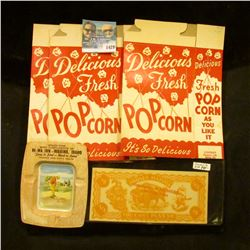 1429 _ (4) Movie Theater Popcorn Boxed, Tin Advertising Ashtray, Stolen From With Compliments of HI-