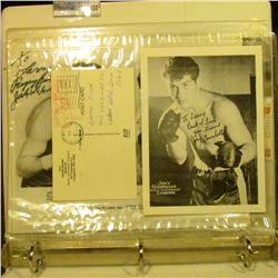 """1432 _ Note book with several autographed photos and cards including """"Ray """"Boom Boom""""Mancini"""", """"Joey"""