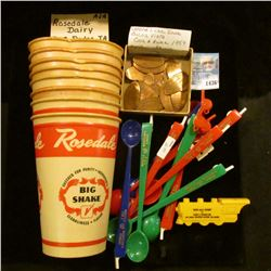 """1436 _ (8) Antique Wax Cups """"Rosedale Checked for Purity.Ingredients Big Shake Cleanliness. Flavor"""""""