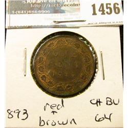 1456 _ 1893 Canada Large Cent, Choice BU 64 Red and brown