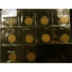 1463 _ Complete Set of (10) different VG-VF 1911-1920 George V Canada Large Cents.