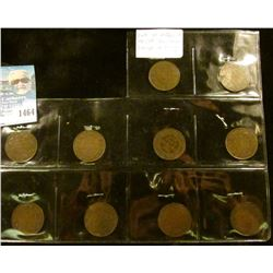 1464 _ Complete Set of (10) different VG-VF 1911-1920 George V Canada Large Cents.