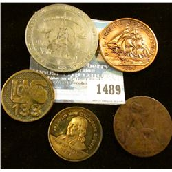 """1489 _ Interesting group of tokens and medals: """"U.S./Iowa/133"""", reverse may have had a pin attached;"""