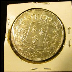 1509 _ 1823 Five Francs French Silver Coin With King Louis The 18th On The Front.  On The Reverse Is