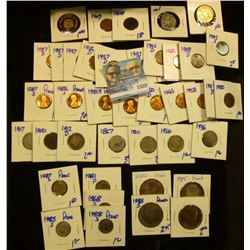 1528 _ Odds And Ends Coin Lot Includes Wheat Cents, Gold Plated Kennedy Half Dollar, 1867 Shield Nic