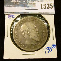1535 _ 1892 Russian Silver One Ruble Coin With Alexander The Second On The Front