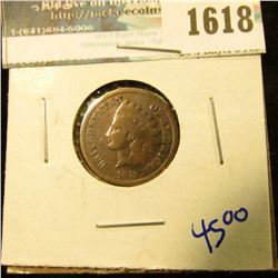 1618 _ 1873 Indian Head Cent With A Closed 3
